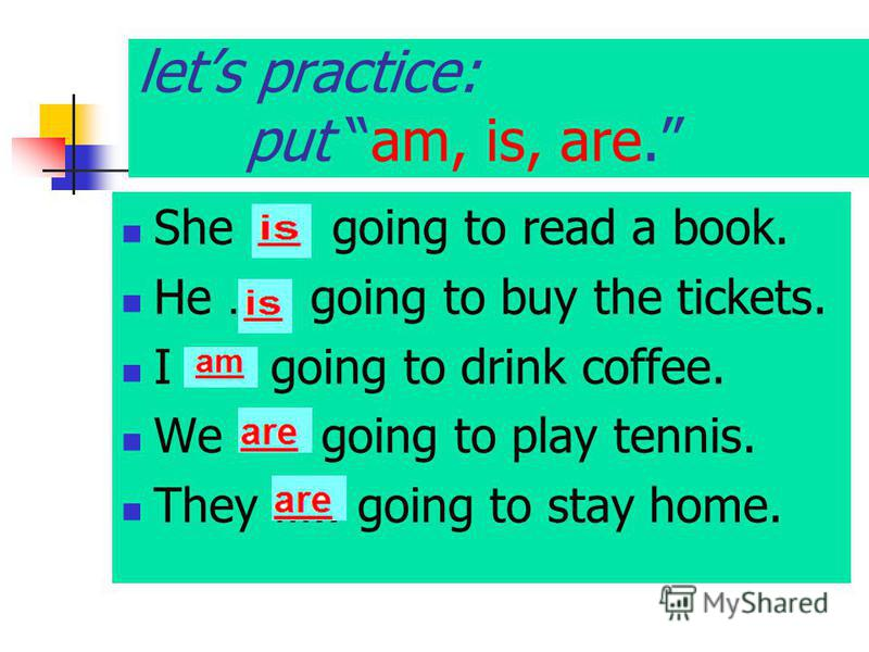 lets practice: put am, is, are. She ….. going to read a book. He ….. going to buy the tickets. I ….. going to drink coffee. We ….. going to play tennis. They ….. going to stay home.