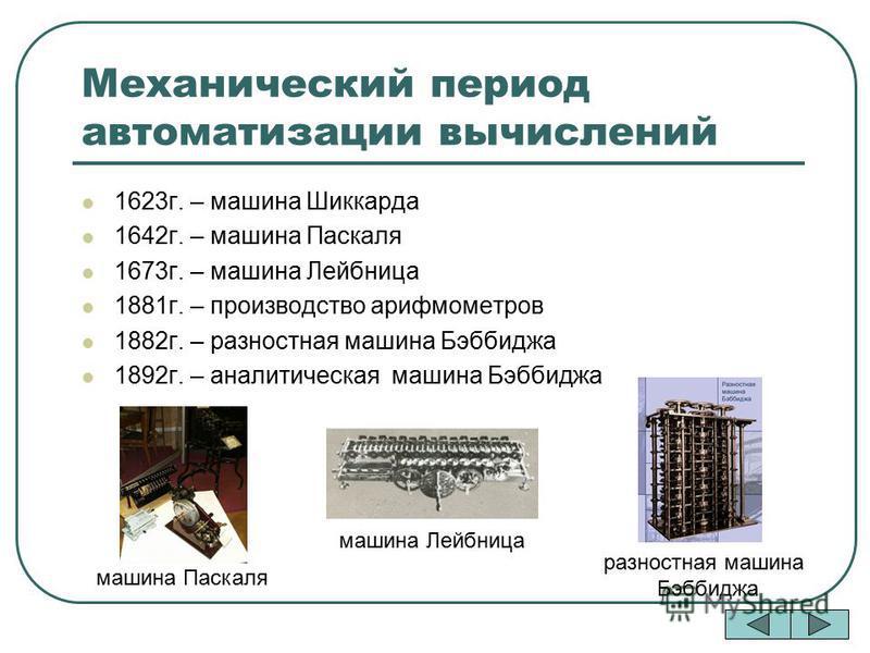 Механический период автоматизации вычислений 1623 г. – машина Шиккарда 1642 г. – машина Паскаля 1673 г. – машина Лейбница 1881 г. – производство арифмометров 1882 г. – разностная машина Бэббиджа 1892 г. – аналитическая машина Бэббиджа машина Паскаля