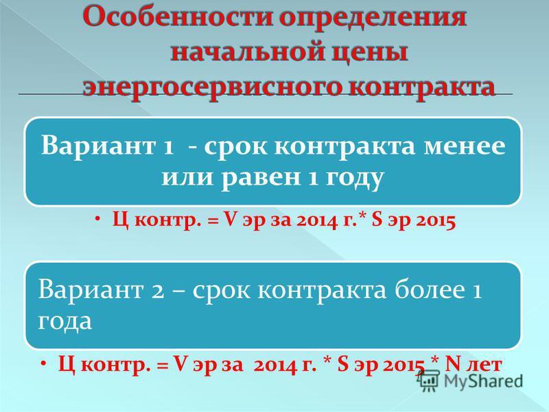 Вариант 1 - срок контракта менее или равен 1 году Ц контр. = V эр за 2014 г.* S эр 2015 Вариант 2 – срок контракта более 1 года Ц контр. = V эр за 2014 г. * S эр 2015 * N лет