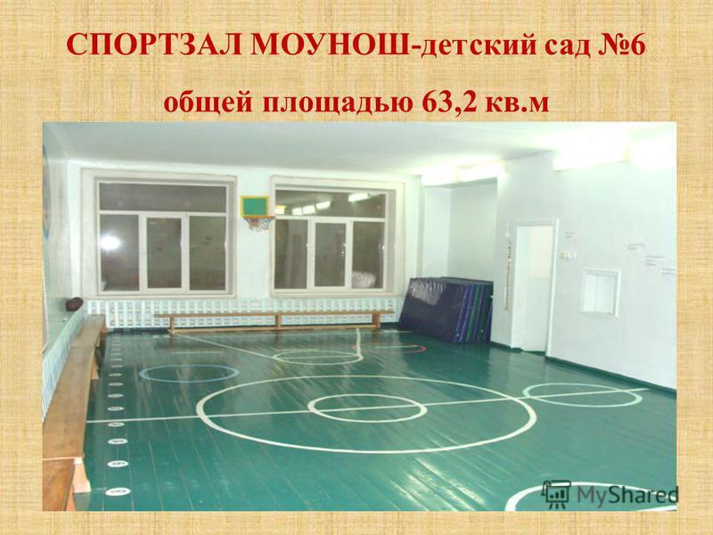 СПОРТЗАЛ МОУНОШ-детский сад 6 общей площадью 63,2 кв.м