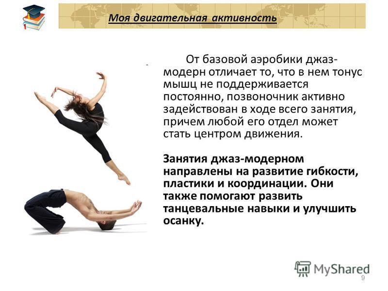 Казань 2010 Моя двигательная активность Стиль джаз-модерн характеризуется сочетанием классической и современной хореографии, импровизацией, и свободой в выражении эмоций. Занятие может состоять из большого числа самых разнообразных комбинаций, в зави