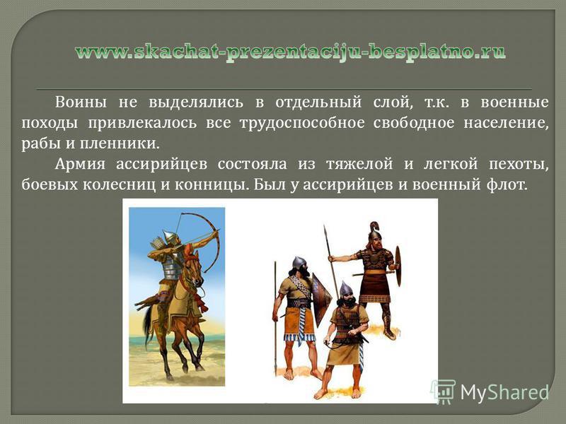 Воины не выделялись в отдельный слой, т. к. в военные походы привлекалось все трудоспособное свободное население, рабы и пленники. Армия ассирийцев состояла из тяжелой и легкой пехоты, боевых колесниц и конницы. Был у ассирийцев и военный флот.