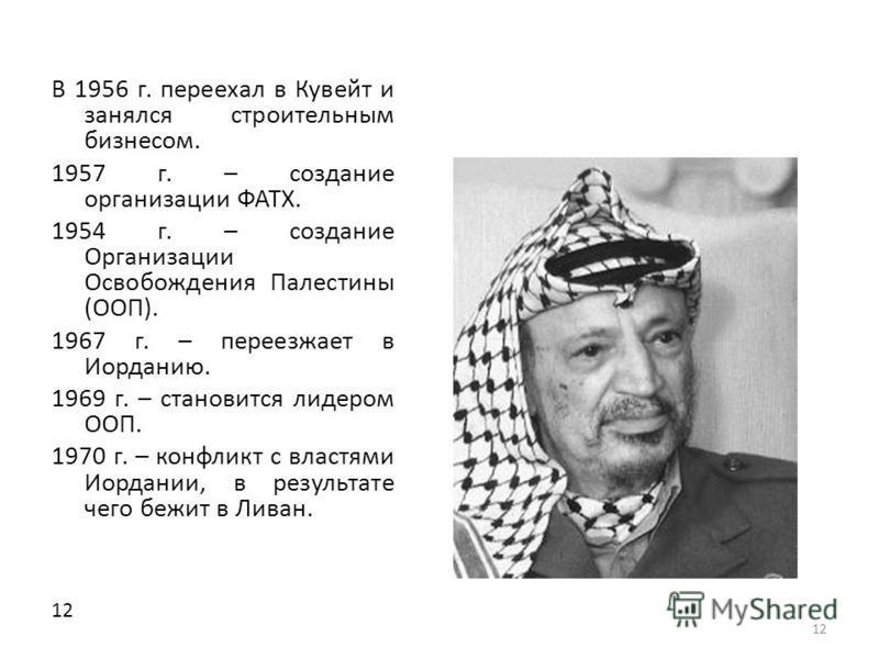 12 В 1956 г. переехал в Кувейт и занялся строительным бизнесом. 1957 г. – создание организации ФАТХ. 1954 г. – создание Организации Освобождения Палестины (ООП). 1967 г. – переезжает в Иорданию. 1969 г. – становится лидером ООП. 1970 г. – конфликт с