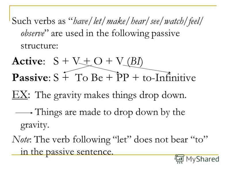 Such verbs as have/let/make/hear/see/watch/feel/ observe are used in the following passive structure: Active: S + V + O + V (BI) Passive: S + To Be + PP + to-Infinitive EX: The gravity makes things drop down. Things are made to drop down by the gravi