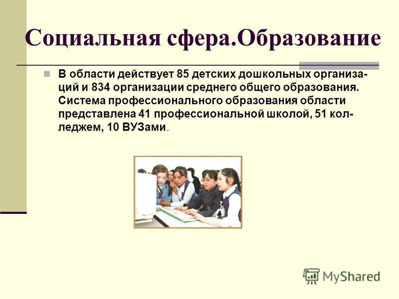Социальная сфера.Образование В области действует 85 детских дошкольных организа- ций и 834 организации среднего общего образования. Система профессионального образования области представлена 41 профессиональной школой, 51 кол- леджем, 10 ВУЗами.