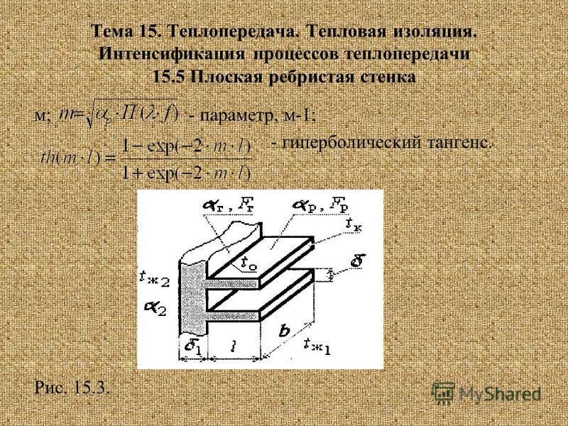 Тема 15. Теплопередача. Тепловая изоляция. Интенсификация процессов теплопередачи 15.5 Плоская ребристая стенка м; - параметр, м-1; - гиперболический тангенс. Рис. 15.3.