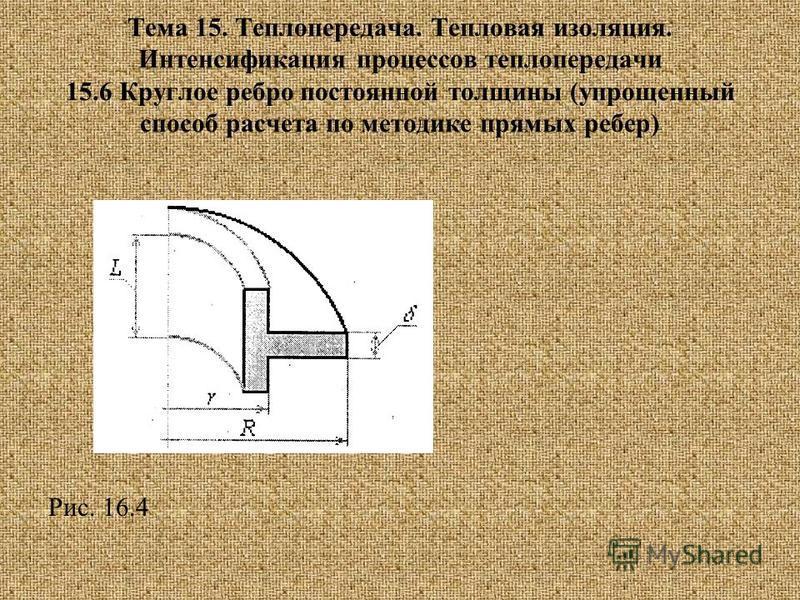 Тема 15. Теплопередача. Тепловая изоляция. Интенсификация процессов теплопередачи 15.6 Круглое ребро постоянной толщины (упрощенный способ расчета по методике прямых ребер) Рис. 16.4