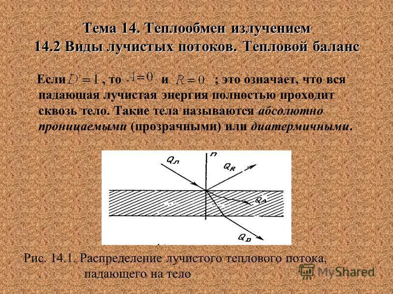 Тема 14. Теплообмен излучением 14.2 Виды лучистых потоков. Тепловой баланс Если, то и ; это означает, что вся падающая лучистая энергия полностью проходит сквозь тело. Такие тела называются абсолютно проницаемыми (прозрачными) или диатермичными. Рис.