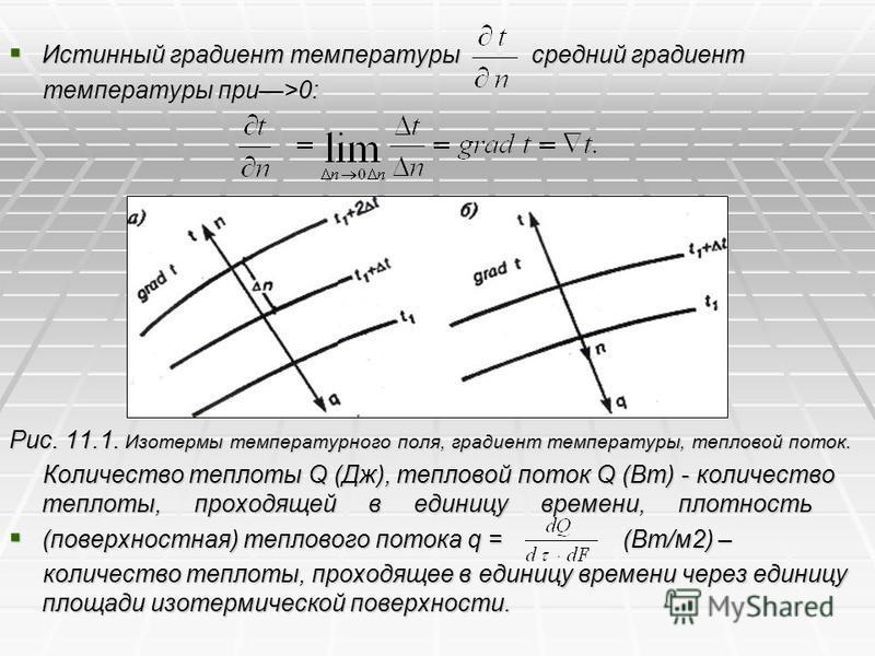 Истинный градиент температуры средний градиент Истинный градиент температуры средний градиент температуры при>0: температуры при>0: Рис. 11.1. Изотермы температурного поля, градиент температуры, тепловой поток. Количество теплоты Q (Дж), тепловой пот