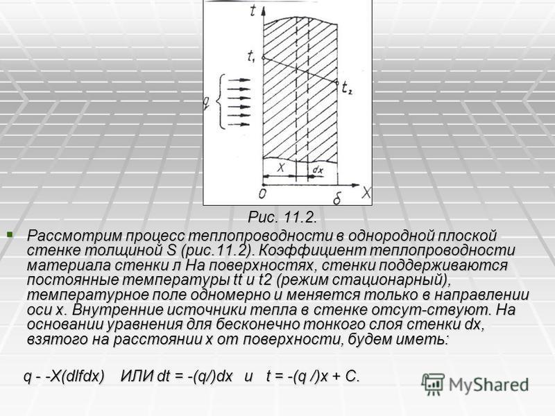 Рис. 11.2. Рис. 11.2. Рассмотрим процесс теплопроводности в однородной плоской стенке толщиной S (рис.11.2). Коэффициент теплопроводности материала стенки л На поверхностях, стенки поддерживаются постоянные температуры tt и t2 (режим стационарный