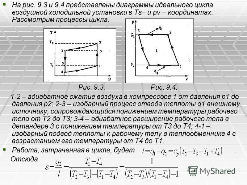 На рис. 9.3 и 9.4 представлены диаграммы идеального цикла воздушной холодильной установки в Ts– и pv – координатах. Рассмотрим процессы цикла. На рис. 9.3 и 9.4 представлены диаграммы идеального цикла воздушной холодильной установки в Ts– и pv – коор
