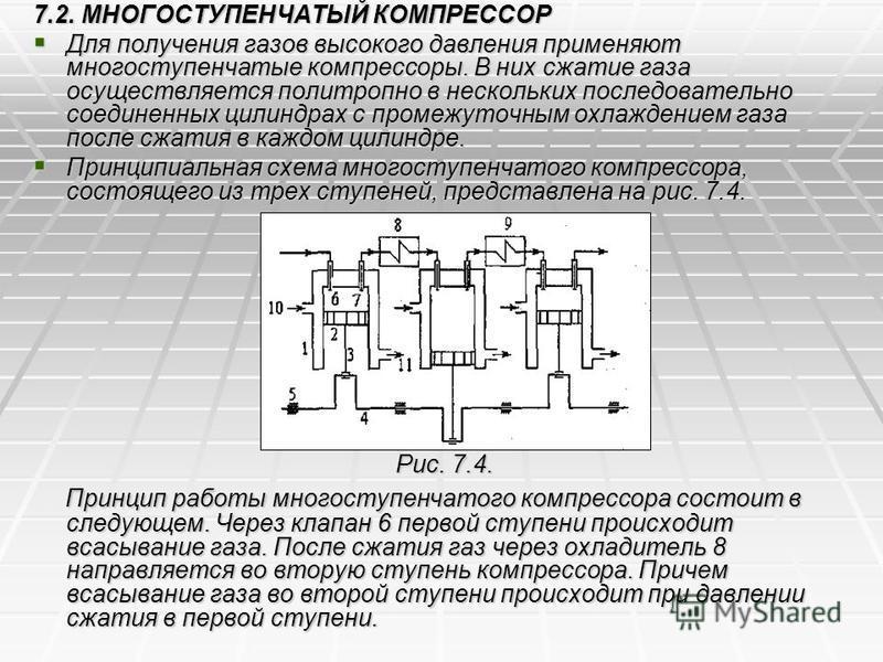 7.2. МНОГОСТУПЕНЧАТЫЙ КОМПРЕССОР Для получения газов высокого давления применяют многоступенчатые компрессоры. В них сжатие газа осуществляется политропно в нескольких последовательно соединенных цилиндрах с промежуточным охлаждением газа после сжати