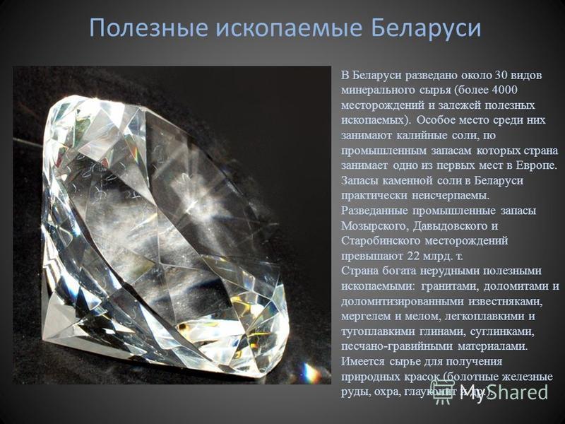 Полезные ископаемые Беларуси В Беларуси разведано около 30 видов минерального сырья (более 4000 месторождений и залежей полезных ископаемых). Особое место среди них занимают калийные соли, по промышленным запасам которых страна занимает одно из первы
