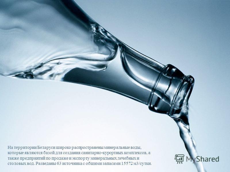На территории Беларуси широко распространены минеральные воды, которые являются базой для создания санитарно-курортных комплексов, а также предприятий по продаже и экспорту минеральных лечебных и столовых вод. Разведаны 63 источника с общими запасами