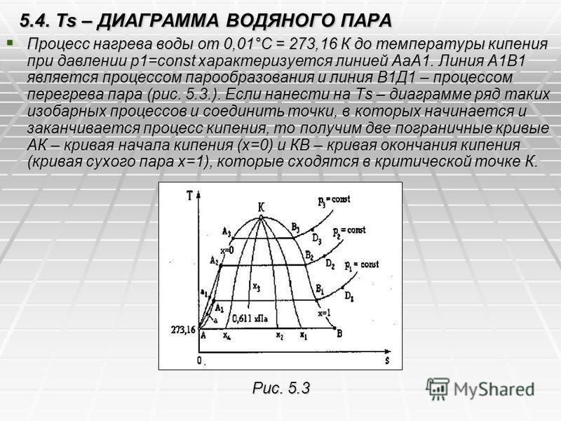 5.4. Ts – ДИАГРАММА ВОДЯНОГО ПАРА Процесс нагрева воды от 0,01°С = 273,16 К до температуры кипения при давлении р 1=const характеризуется линией АаА1. Линия А1В1 является процессом парообразования и линия В1Д1 – процессом перегрева пара (рис. 5.3.).