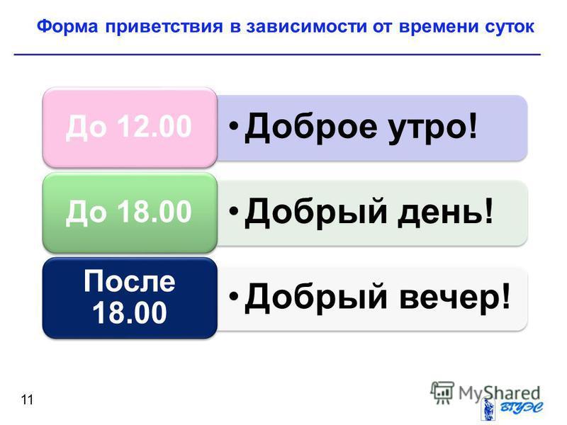 Форма приветствия в зависимости от времени суток 11 Доброе утро! До 12.00 Добрый день! До 18.00 Добрый вечер! После 18.00