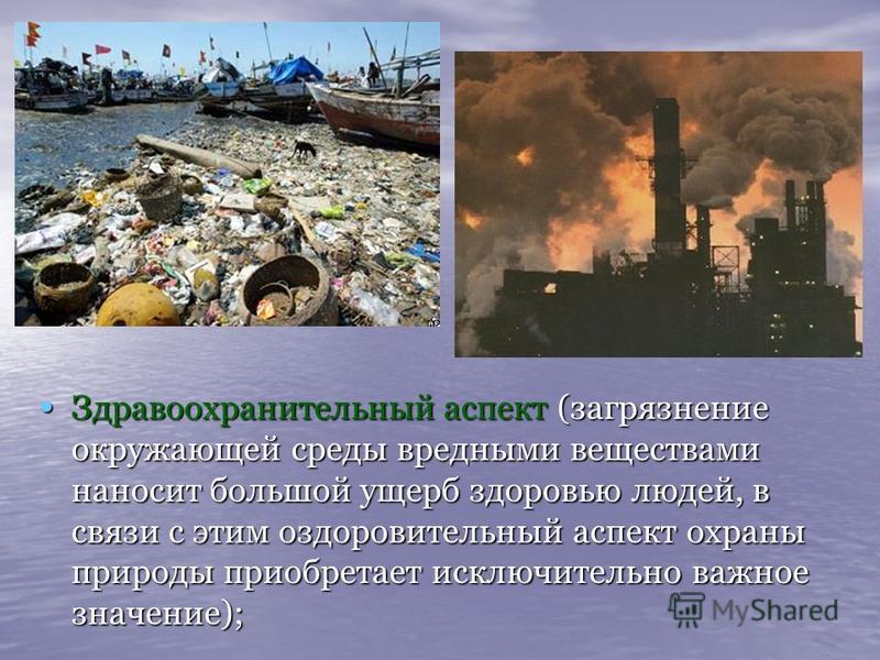 Здравоохранительный аспект (загрязнение окружающей среды вредными веществами наносит большой ущерб здоровью людей, в связи с этим оздоровительный аспект охраны природы приобретает исключительно важное значение); Здравоохранительный аспект (загрязнени