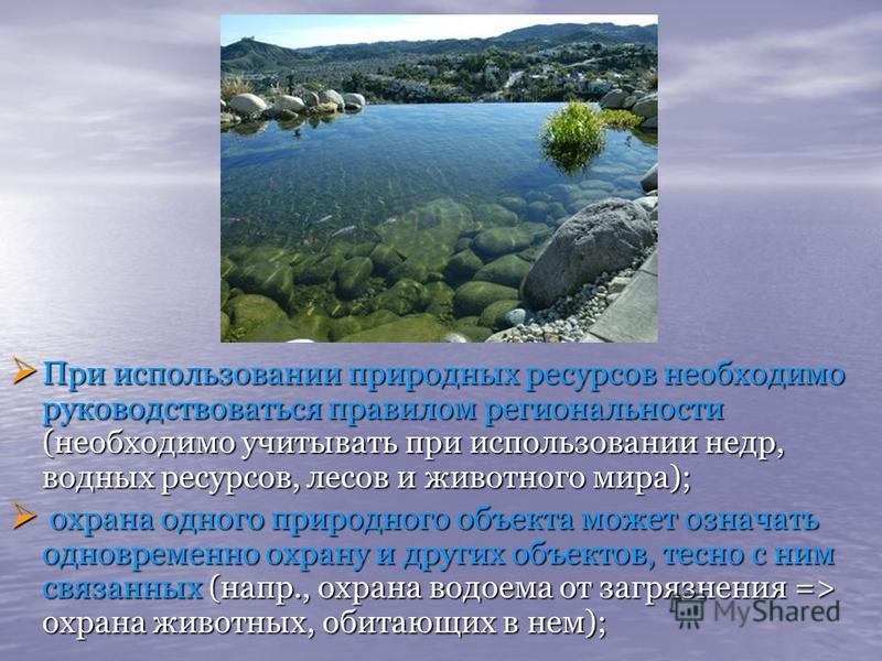 При использовании природных ресурсов необходимо руководствоваться правилом региональности (необходимо учитывать при использовании недр, водных ресурсов, лесов и животного мира); При использовании природных ресурсов необходимо руководствоваться правил