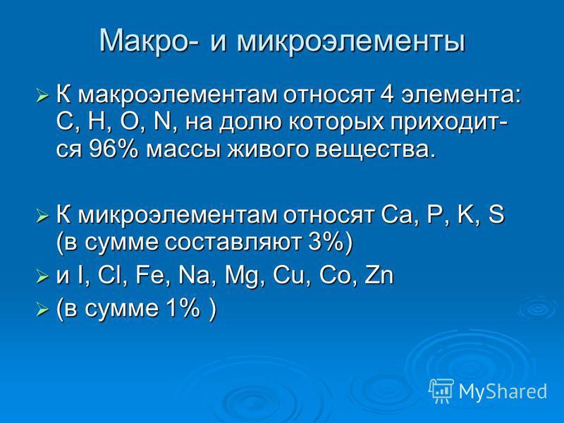 Макро- и микроэлементы К макроэлементам относят 4 элемента: C, H, O, N, на долю которых приходит- ся 96% массы живого вещества. К макроэлементам относят 4 элемента: C, H, O, N, на долю которых приходит- ся 96% массы живого вещества. К микроэлементам