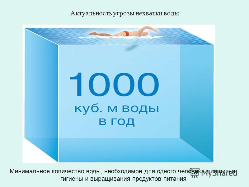 Минимальное количество воды, необходимое для одного человека для питья, гигиены и выращивания продуктов питания Актуальность угрозы нехватки воды