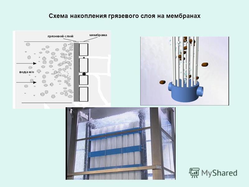 Схема накопления грязевого слоя на мембранах