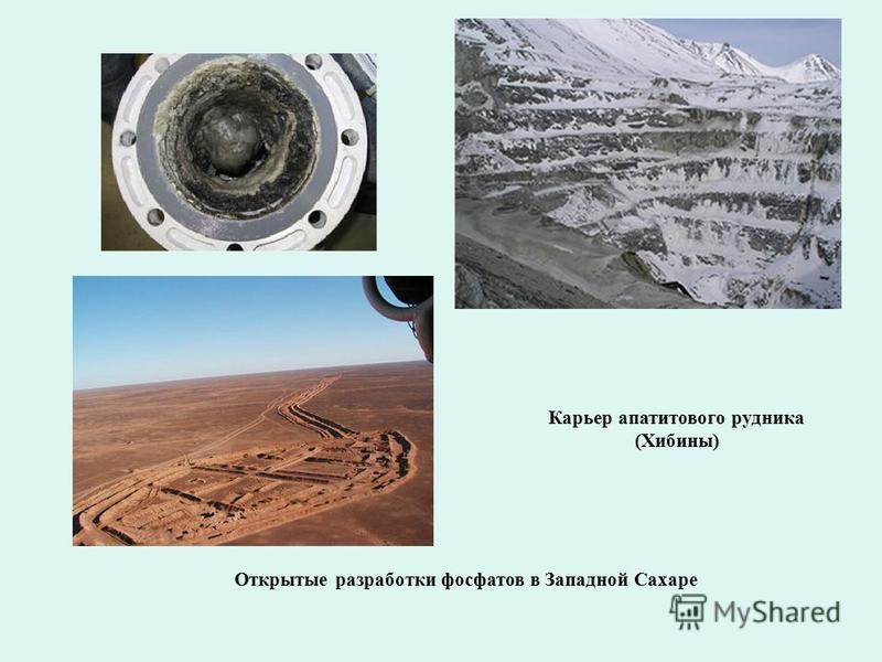 Открытые разработки фосфатов в Западной Сахаре Карьер апатитового рудника (Хибины)