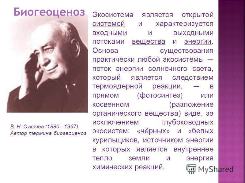 В. Н. Сукачёв (1880 1967). Автор термина биогеоценоз Экосистема является открытой системой и характеризуется входными и выходными потоками вещества и энергии. Основа существования практически любой экосистемы поток энергии солнечного света, который я