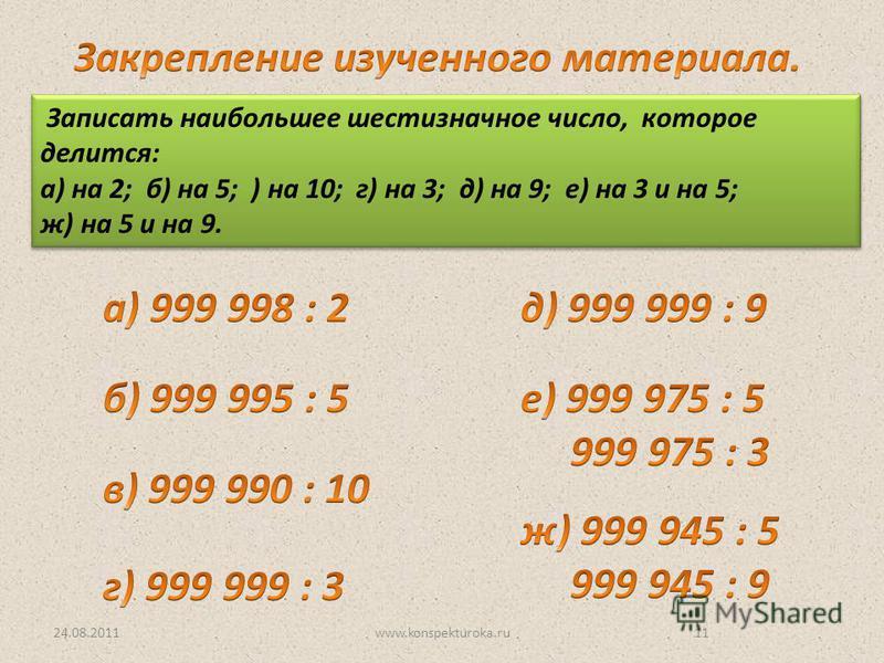 24.08.2011www.konspekturoka.ru11 Записать наибольшее шестизначное число, которое делится: а) на 2; б) на 5; ) на 10; г) на 3; д) на 9; е) на 3 и на 5; ж) на 5 и на 9. Записать наибольшее шестизначное число, которое делится: а) на 2; б) на 5; ) на 10;