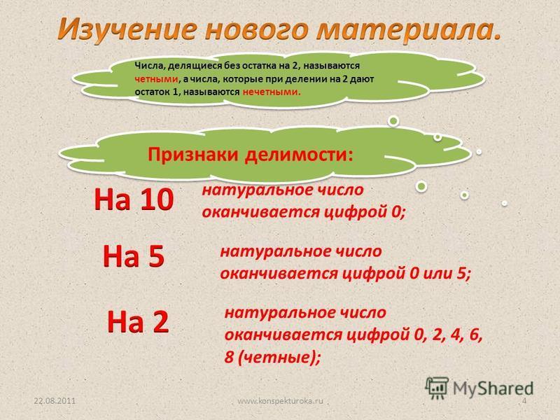 Признаки делимости: натуральное число оканчивается цифрой 0; натуральное число оканчивается цифрой 0 или 5; натуральное число оканчивается цифрой 0, 2, 4, 6, 8 (четные); Числа, делящиеся без остатка на 2, называются четными, а числа, которые при деле