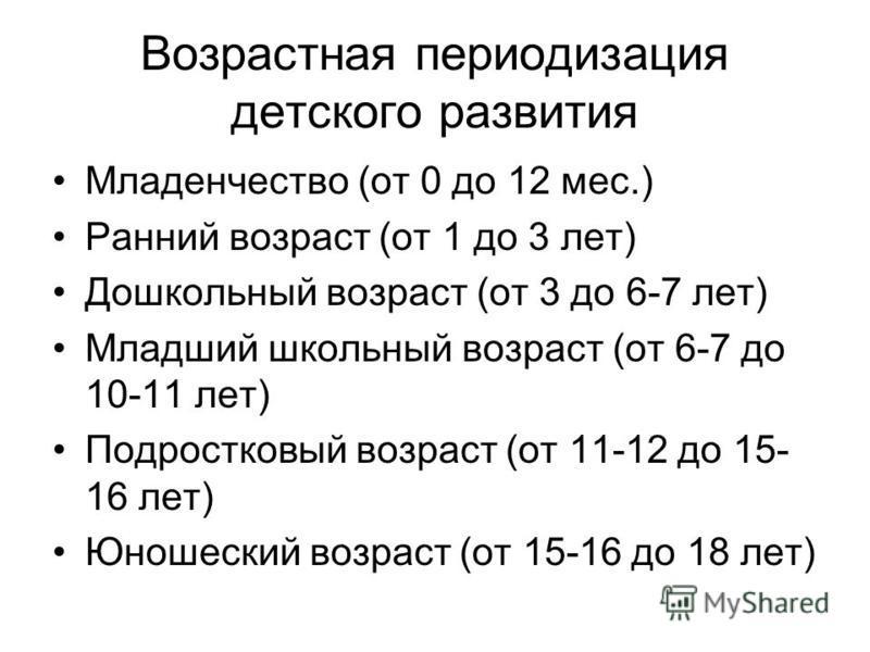 Возрастная периодизация детского развития Младенчество (от 0 до 12 мес.) Ранний возраст (от 1 до 3 лет) Дошкольный возраст (от 3 до 6-7 лет) Младший школьный возраст (от 6-7 до 10-11 лет) Подростковый возраст (от 11-12 до 15- 16 лет) Юношеский возрас