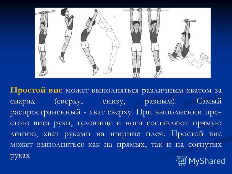 Простой вис может выполняться различным хватом за снаряд (сверху, снизу, разным). Самый распространенный - хват сверху. При выполнении про стого виса руки, туловище и ноги составляют прямую линию, хват руками на ширине плеч. Простой вис может выполн