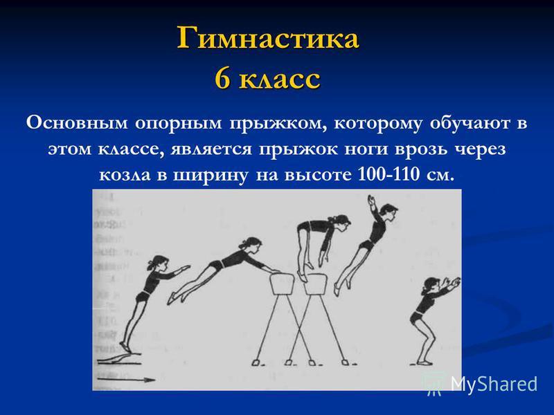 Гимнастика 6 класс Основным опорным прыжком, которому обучают в этом классе, является прыжок ноги врозь через козла в ширину на высоте 100-110 см.