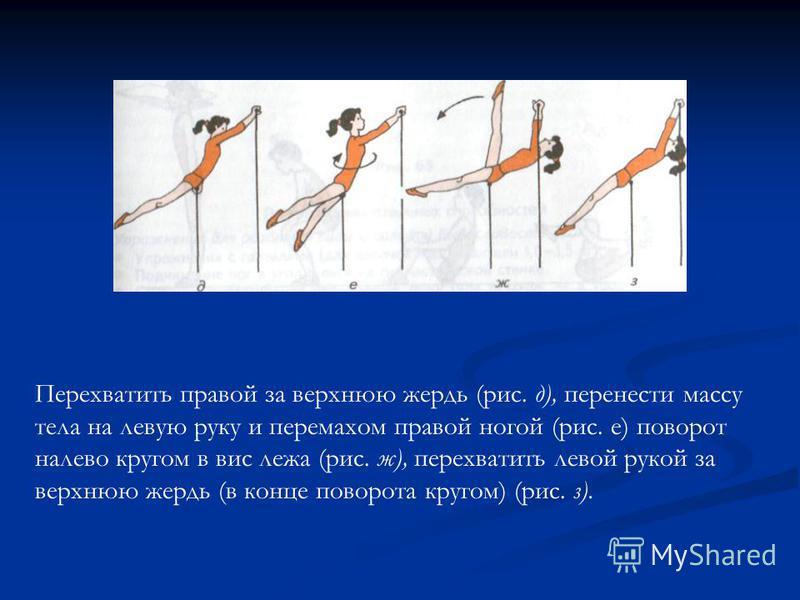 Перехватить правой за верхнюю жердь (рис. д), перенести массу тела на левую руку и перемахом правой ногой (рис. е) поворот налево кругом в вис лежа (рис. ж), перехватить левой рукой за верхнюю жердь (в конце поворота кругом) (рис. з).