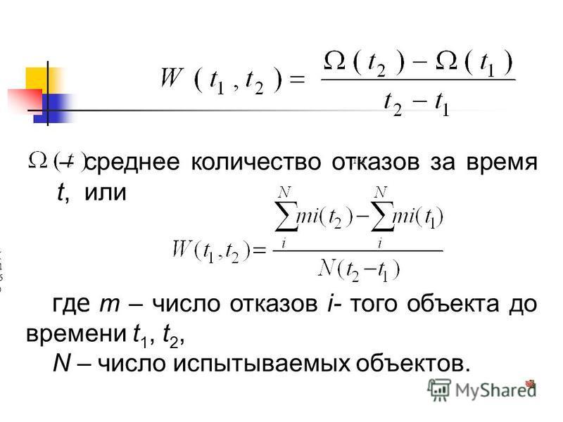 , (15) – среднее количество отказов за время t, или, (16)(16) где m – число отказов i- того объекта до времени t 1, t 2, N – число испытываемых объектов.