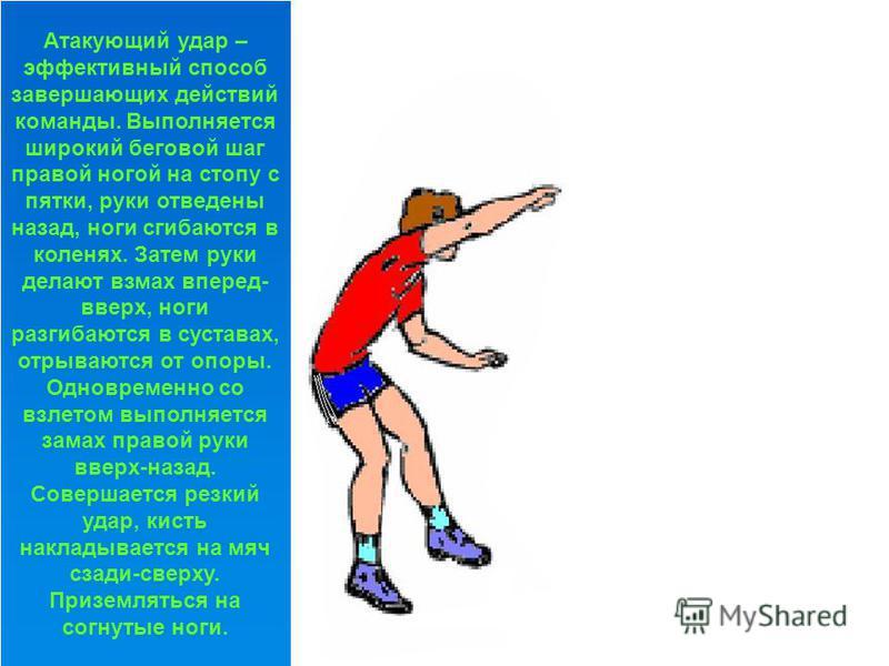 Блокирование – прием игры, для противодействия атакующим ударам соперника. Прыжок происходит из высокой стойки, с последующим приседанием и выпрыгиванием вверх с помощью взмаха согнутыми руками. Далее руки разгибаются в локтях и поднимаются над сетко
