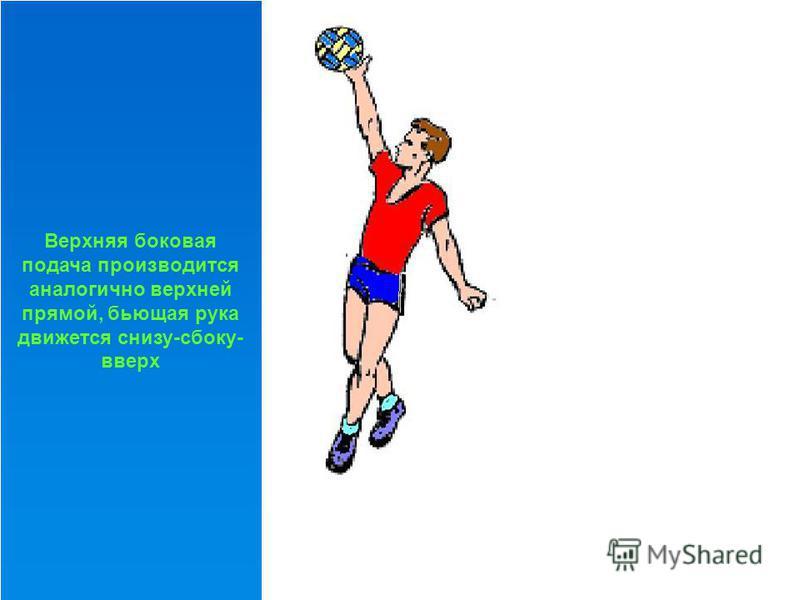 Верхняя прямая. Исходное положение – высокая стойка лицом к сетке. Мяч удерживается на уровне груди, левая нога впереди. После подбрасывания мяча над головой (несколько впереди себя) игрок выполняет замах вверх- назад, прогибается и отводит плечо бью