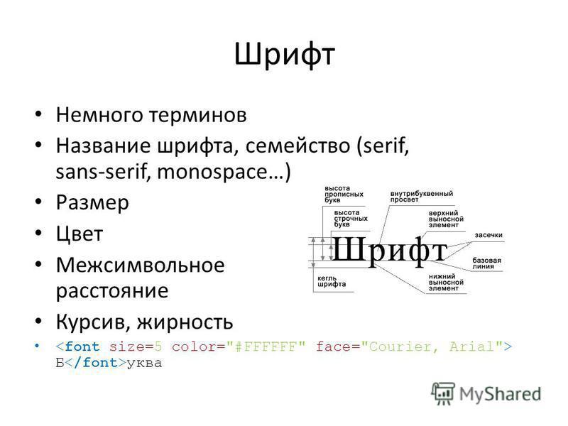 Шрифт Немного терминов Название шрифта, семейство (serif, sans-serif, monospace…) Размер Цвет Межсимвольное расстояние Курсив, жирность Б уква