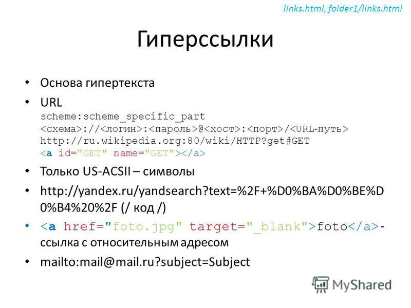 Гиперссылки Основа гипертекста URL scheme:scheme_specific_part :// : @ : / http://ru.wikipedia.org:80/wiki/HTTP?get#GET Только US-ACSII – символы http://yandex.ru/yandsearch?text=%2F+%D0%BA%D0%BE%D 0%B4%20%2F (/ код /) foto - ссылка с относительным а