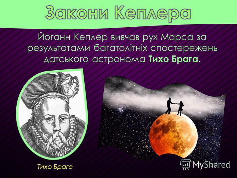 Тихо Браге Йоганн Кеплер вивчав рух Марса за результатами багатолітніх спостережень датського астронома Тихо Брага.