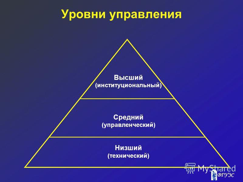 Уровни управления Высший (институциональный) Средний (управленческий) Низший (технический)