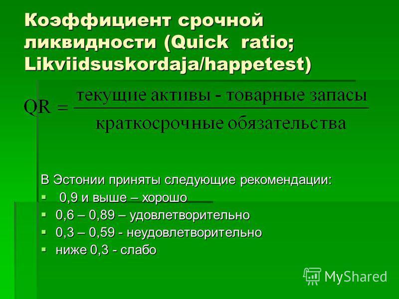 Коэффициент срочной ликвидности (Quick ratio; Likviidsuskordaja/happetest) В Эстонии приняты следующие рекомендации: 0,9 и выше – хорошо 0,9 и выше – хорошо 0,6 – 0,89 – удовлетворительно 0,6 – 0,89 – удовлетворительно 0,3 – 0,59 - неудовлетворительн