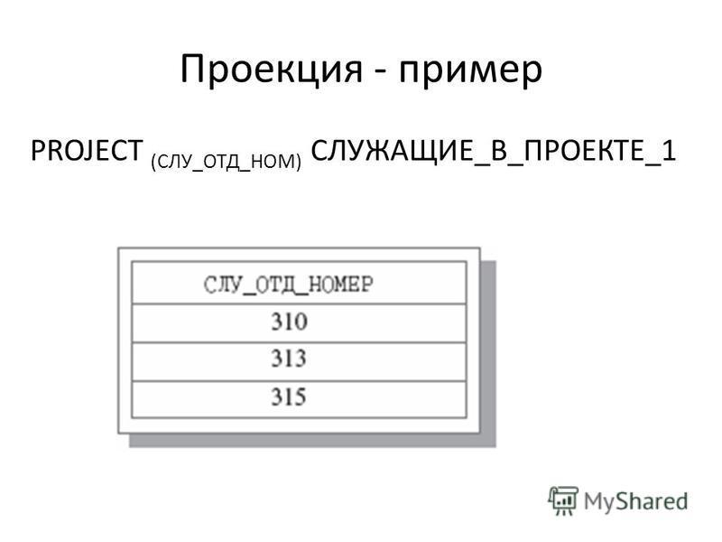 Проекция - пример PROJECT (СЛУ_ОТД_НОМ) СЛУЖАЩИЕ_В_ПРОЕКТЕ_1