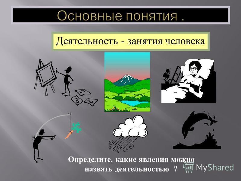 Деятельность - занятия человека Определите, какие явления можно назвать деятельностью ?