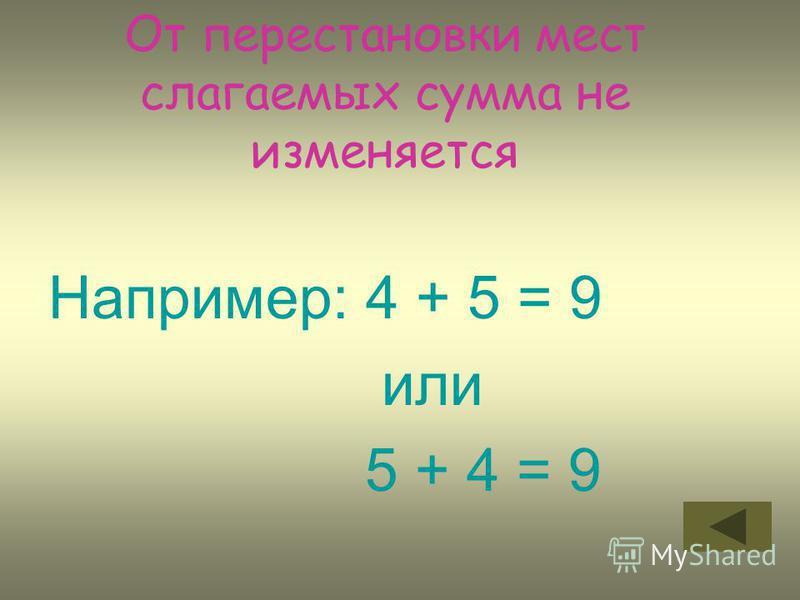 От перестановки мест слагаемых сумма не изменяется Например: 4 + 5 = 9 или 5 + 4 = 9