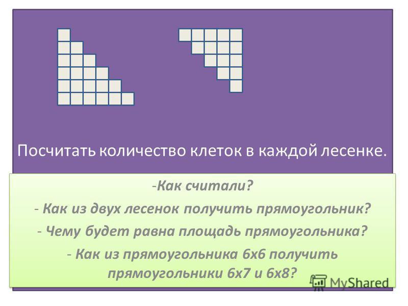 Посчитать количество клеток в каждой лесенке. -Как считали? - Как из двух лесенок получить прямоугольник? - Чему будет равна площадь прямоугольника? - Как из прямоугольника 6 х 6 получить прямоугольники 6 х 7 и 6 х 8? -Как считали? - Как из двух лесе