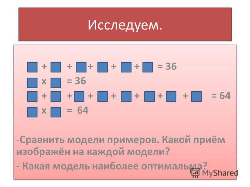 Исследуем. + + + + + = 36 х = 36 + + + + + + + = 64 х = 64 -Сравнить модели примеров. Какой приём изображён на каждой модели? - Какая модель наиболее оптимальна? + + + + + = 36 х = 36 + + + + + + + = 64 х = 64 -Сравнить модели примеров. Какой приём и
