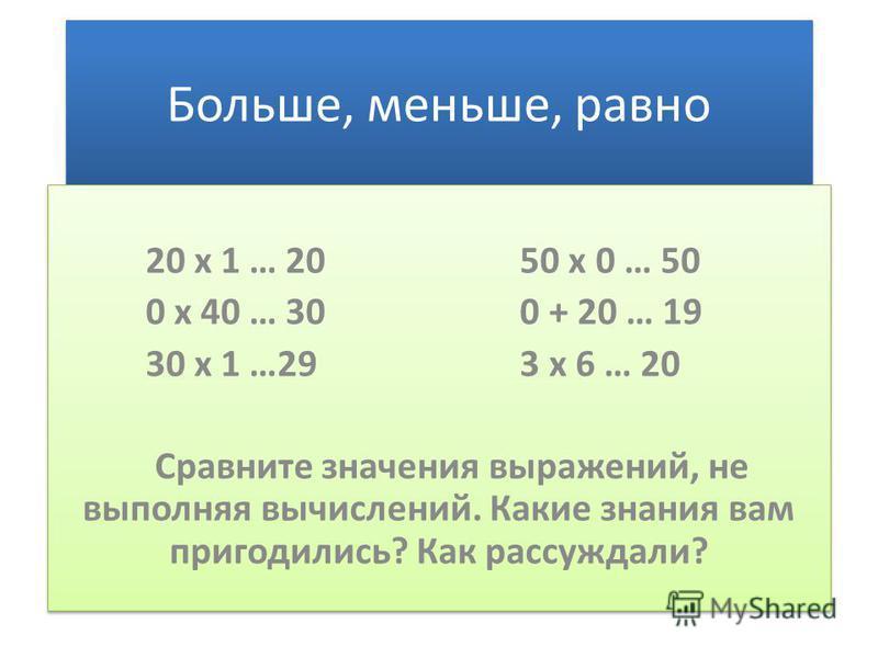Больше, меньше, равно 20 х 1 … 20 50 х 0 … 50 0 х 40 … 30 0 + 20 … 19 30 х 1 …29 3 х 6 … 20 Сравните значения выражений, не выполняя вычислений. Какие знания вам пригодились? Как рассуждали? 20 х 1 … 20 50 х 0 … 50 0 х 40 … 30 0 + 20 … 19 30 х 1 …29