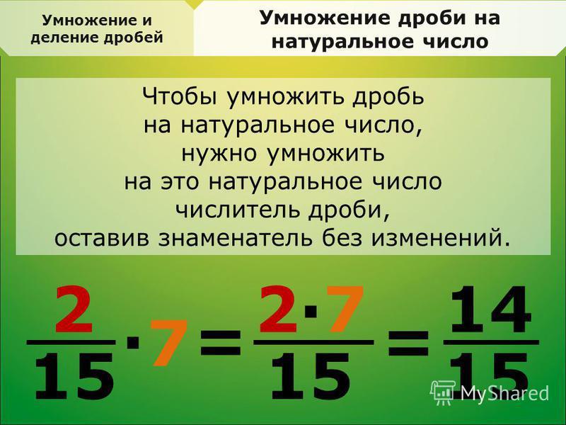 Умножение дроби на натуральное число Чтобы умножить дробь на натуральное число, нужно умножить на это натуральное число числитель дроби, оставив знаменатель без изменений. 2 15 = 2·72·7 · 7 = 14 15 Умножение и деление дробей
