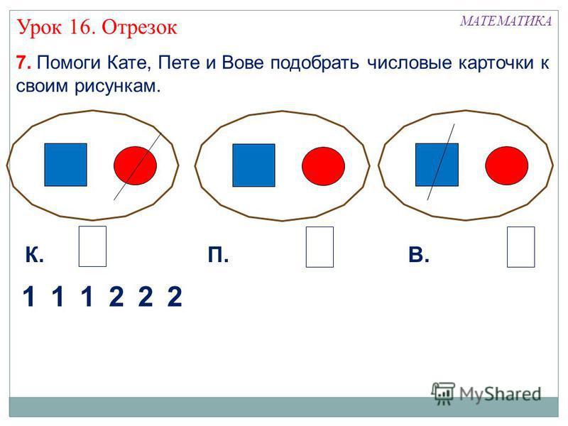 7. Помоги Кате, Пете и Вове подобрать числовые карточки к своим рисункам. МАТЕМАТИКА 122 К.П.В. 2 22 Урок 16. Отрезок 112
