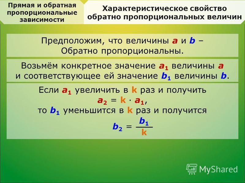 Прямая и обратная пропорциональные зависимости Характеристическое свойство обратно пропорциональных величин Предположим, что величины a и b – Обратно пропорциональны. Возьмём конкретное значение a 1 величины a и соответствующее ей значение b 1 величи